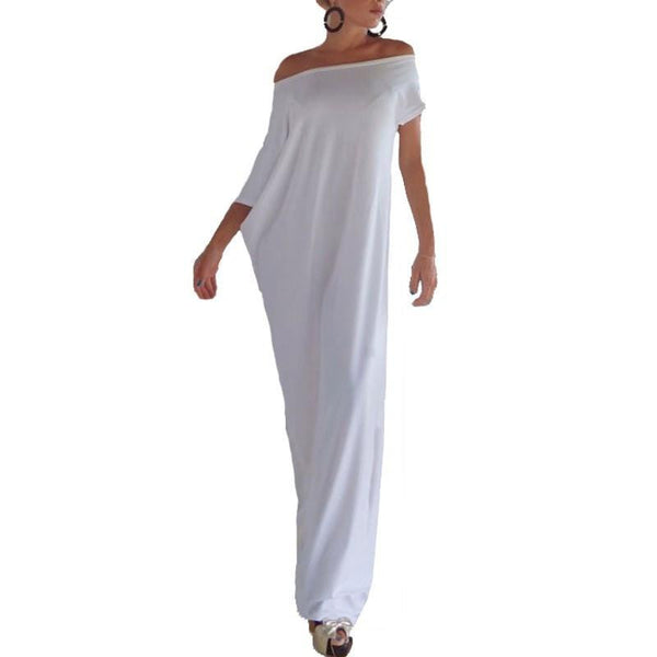 Summer Women Boho Long Maxi Dress Casual Loose Sexy Elegant Slash Neck Off Shoulder Solid Party Dresses Plus Size
