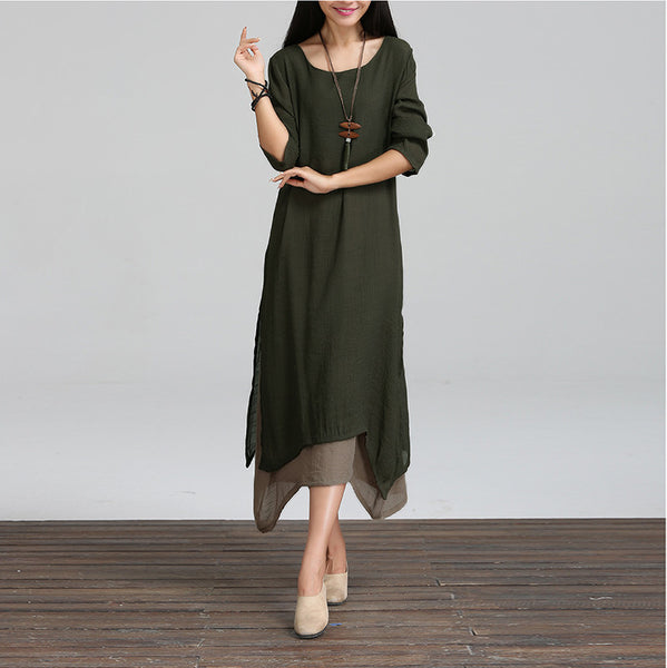 Women Cotton Linen Vintage Dress Ladies O Neck Full Sleeve Casual Loose Boho Mid-calf Dresses Vestidos Plus Size