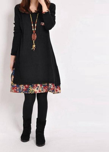 Women Casual Vintage Dress Ladies Leisure Loose Floral Hem O Neck Long Sleeve Cotton Bottoming Dress Plus Size M-XXL
