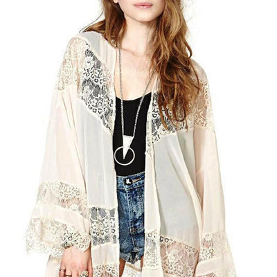 Womens Casual Vintage Boho Kimono Cardigan Lace Crochet Chiffon Loose Blouse Tops Beige Black White