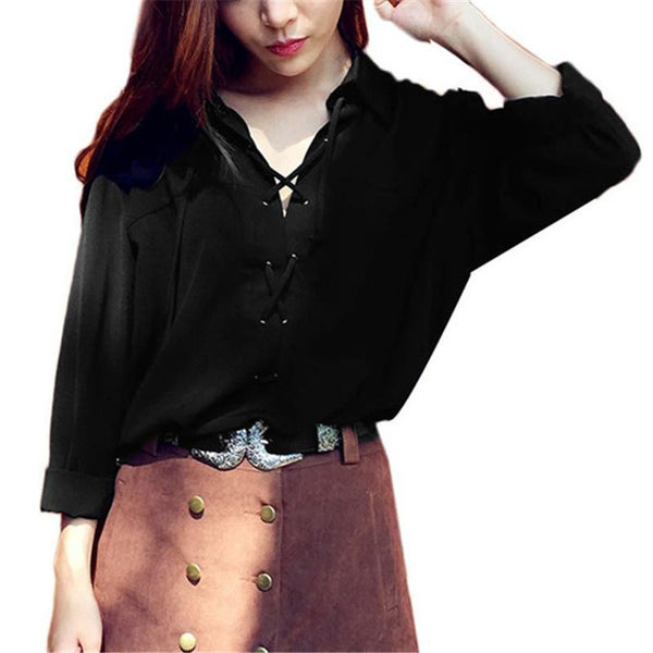 Women Clothing Turn Down Collar Front Lace Up Long Sleeve Blouses Sexy Black White Chiffon Tops Shirts S-3XL