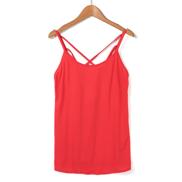 Online discount shop Australia - Fashion Women Sexy Strap Tank Tops Backless Vest Shirt Camis Solid Color Hollow Out Cage Vest Tank Tops