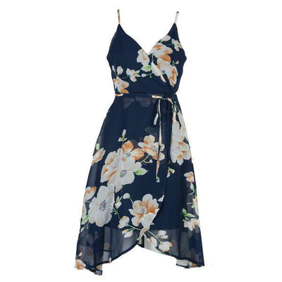 Women Navy Floral Print V Neck Wrap Front Cross Backless Asymmetric Dress Summer Fashion A Line Chiffon Beach Dresses