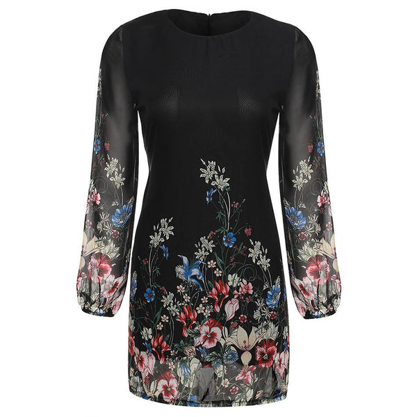 Women Summer Style Newest Shift Dresses Beautiful Black Long Sleeve Floral Print Round Neck Chiffon Short Mini Dress S-XL