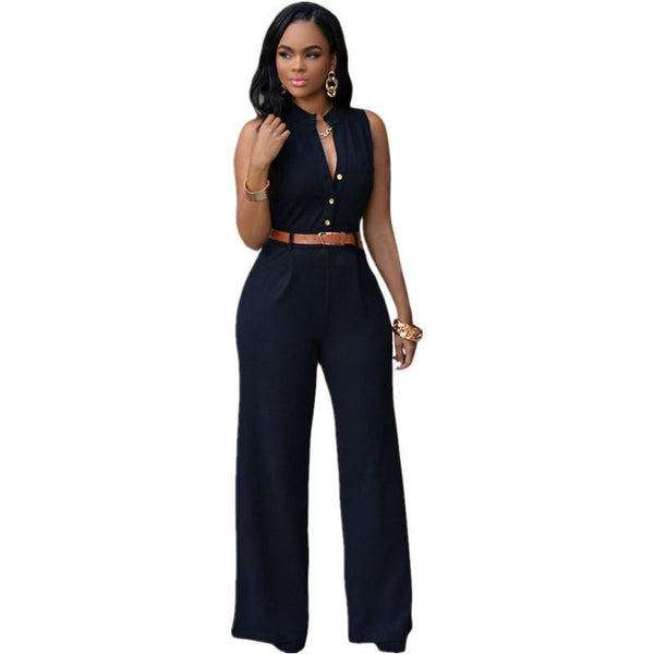 Wide Leg Jumpsuit Long Plus Size Romper Monos Largos De Mujer Belted White Jumpsuit For Women 60932