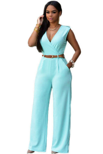 Jumpsuit Long Pants Women Rompers Sleeveless 2XL V-neck Belt Solid Sexy Night Club Elegant Slim Jumpsuits Overalls
