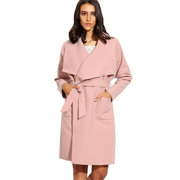 Women Casual Long Trench Coats Ladies Plain Long Sleeve With Pocket Drop Shoulder Drape Collar Wrap Coat