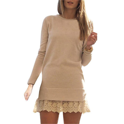 Women Fashion Mini Dresses Elegant Ladies Long Sleeve Round Neck Contrast Lace Embroidered Flounce Shift Dress