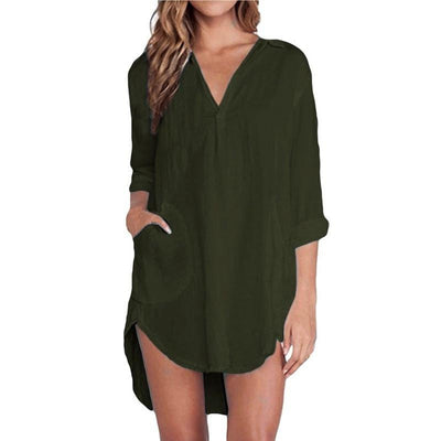 Women Elegant Long Tops V Neck Pocket Pure Long Sleeve Casual Loose Mini Dress Vestidos Shirts Plus Size