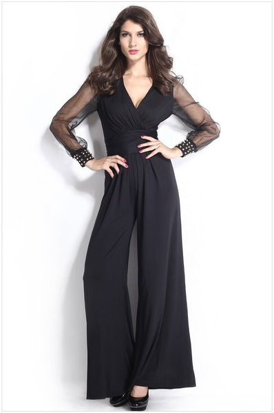 Sexy women jumpsuit 3 Colors Embellished Lantern Sleeve Cuffs Long Mesh Sleeves Jumpsuit