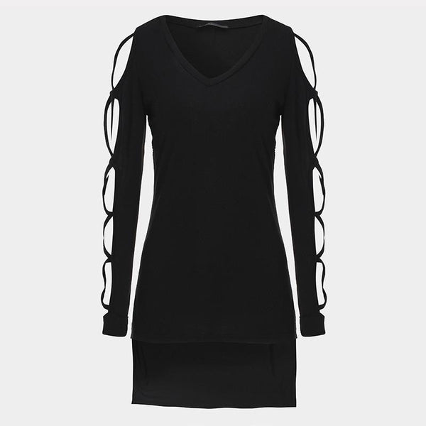 T Shirt Women Designer Brand Sexy V Neck Long Sleeve Hollow Out Side Split Tops Shirts Plus Size Cotton T-Shirt