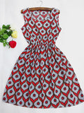 Online discount shop Australia - 20 Colors Brand Blue stars Fashion Women Sleeveless Florals Print Round Neck Dress Saias Femininas Summer Clothing S-XXL
