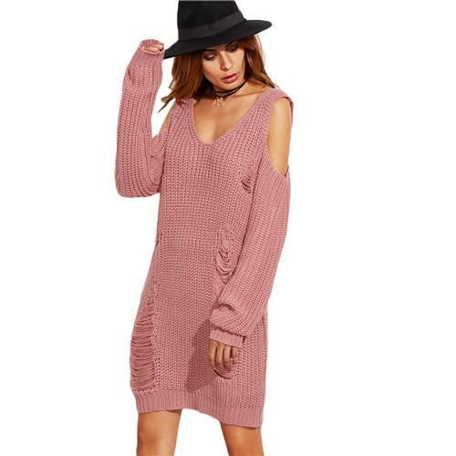 d188a682190 Womens Casual Shift Dresses Autumn Ladies Pink V Neck Cold Shoulder Long  Sleeve Cut Out Ripped