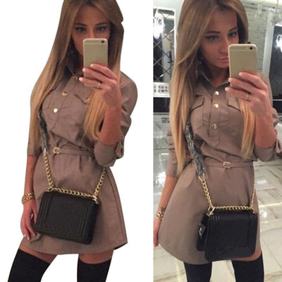 Women Slim Long Sleeve Tops Casual Mini Shirt Dress