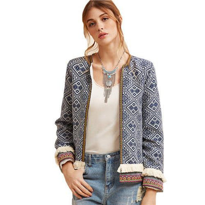 Vintage Short Jackets For Women Blue Collarless Long Sleeve Fringe Trim Tribal Jacket With Embroidered Tape