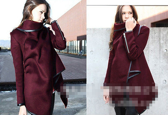 Online discount shop Australia - New   Coat Women Irregular Collar Lapel Side Zipper Woolen Coat Women Loose Sweater Outwear Jacket Plus Size