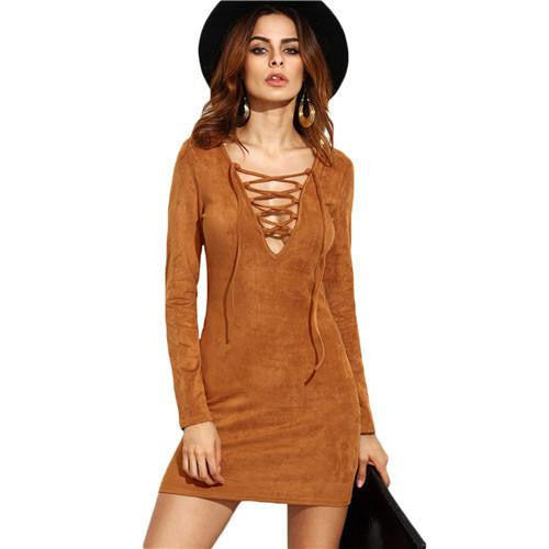 SheIn Ladies Sheath Autumn Dresses Women Long Sleeve Camel Faux Suede Lace Up V Neck Sexy Mini Bodycon Dress