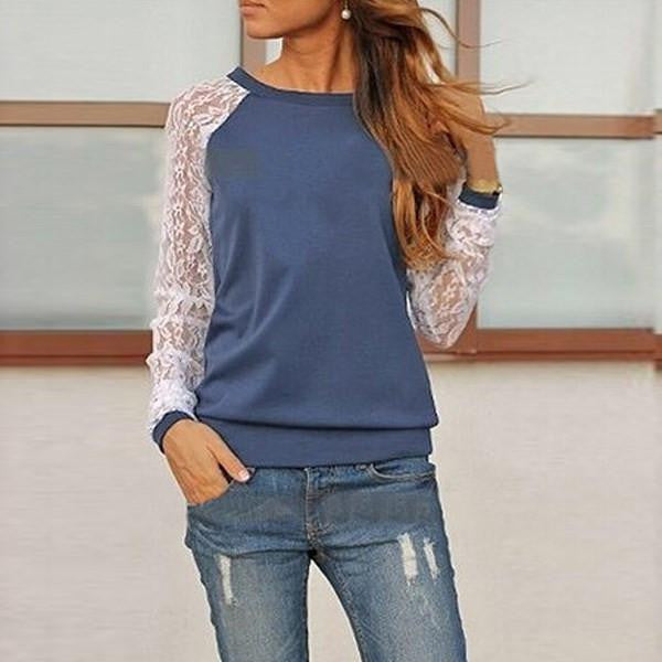 Womens Blouse Casual Shirt Lace Floral Patchwork Long Sleeve Blouse Lady Tee Shirt Top