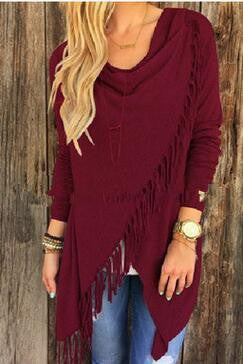 Online discount shop Australia - Adogirl New Tassel T shirt Women Long Sleeve Irregular Bow Shawl Tops Loose Plus Size S-3XL Casual Cardigan Tee Shirts