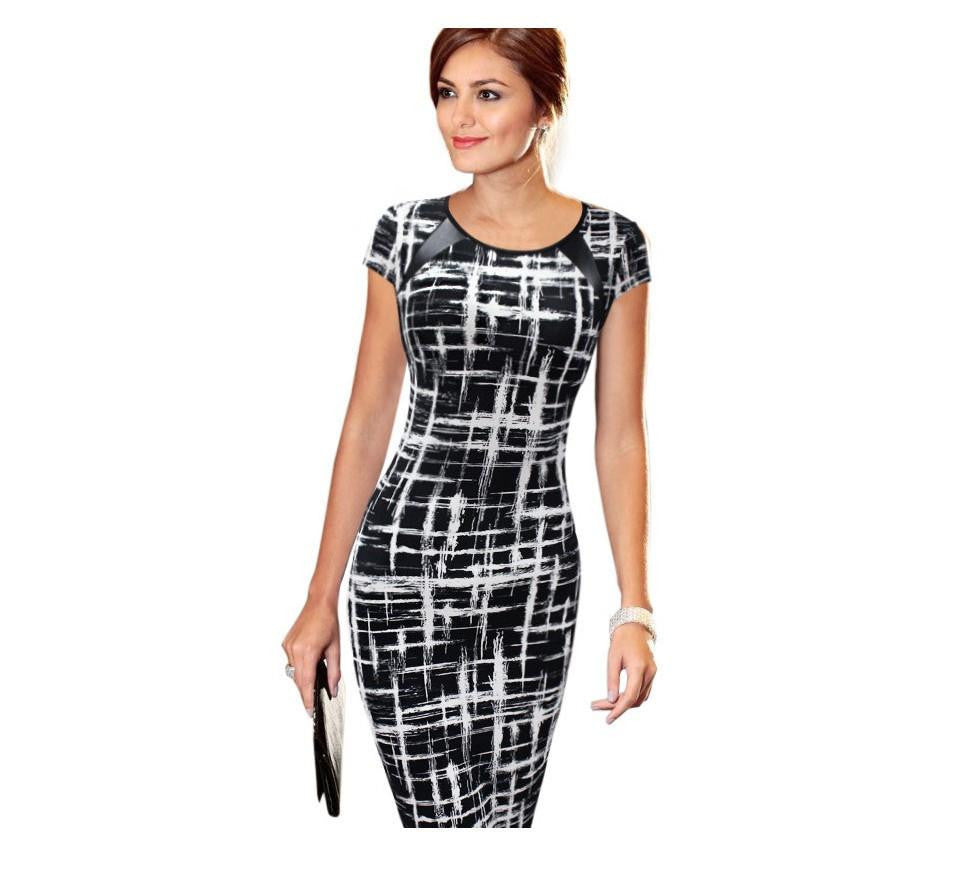 Summer Women Casual Sexy Dress Women Print Square Collar Sleeveless Tank Wear To Office Work Sheath Pencil Party DressesBlueSa