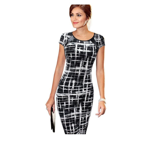 Summer Women Casual Sexy Dress Women Print Square Collar Sleeveless Tank Wear To Office Work Sheath Pencil Party Dresses