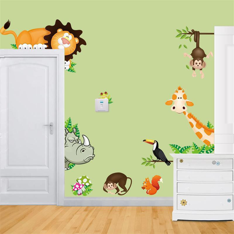 Cute Animal Live in Your Home DIY Wall Stickers/ Home Decor Jungle Forest Theme Wallpaper/Gifts for Kids Room Decor StickerCD001a