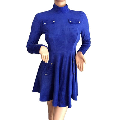 Women Faux Suede Dress Winter Autumn Long Sleeve Turtleneck Pockets Blue Swing Party Dresses