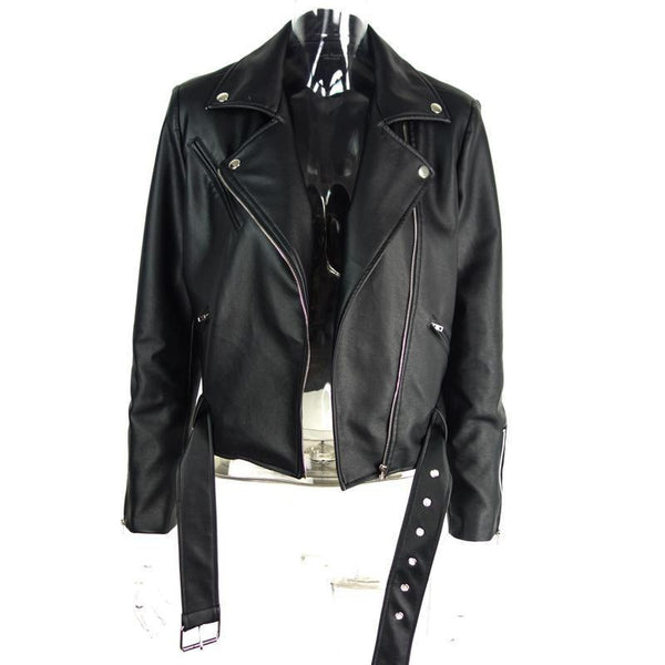 Simplee  PU leather jacket coat Classic basic black short jackets women outwear  adjustable waist motorcycle jacket