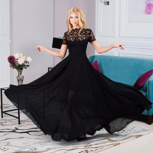 Women Summer Sexy Formal Short Sleeve Elegant Floral Black Lace Perspective Dress Party Long Maxi Dress