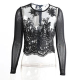 Online discount shop Australia - Embroidery transparent lace blouse shirt Sexy mesh long sleeve white blouse Elegant fringe zipper  tops