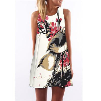 Summer Cartoon Print Dress Hippie Women Beach Dress Fashion Female Plus Size Women Clothing Mini Dress