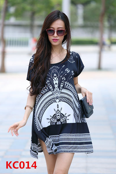 New summer dress short sleeve vestidos o-neck casual bohemian dresses print long women tunic tops plus size roupa femininas