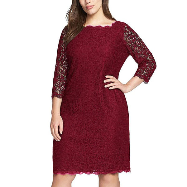 Women Summer Elegant 3/4 Sleeve Retro Stretchy Knee Length Cocktail Bodycon Dress Casual Party Plus Size Lace Dress