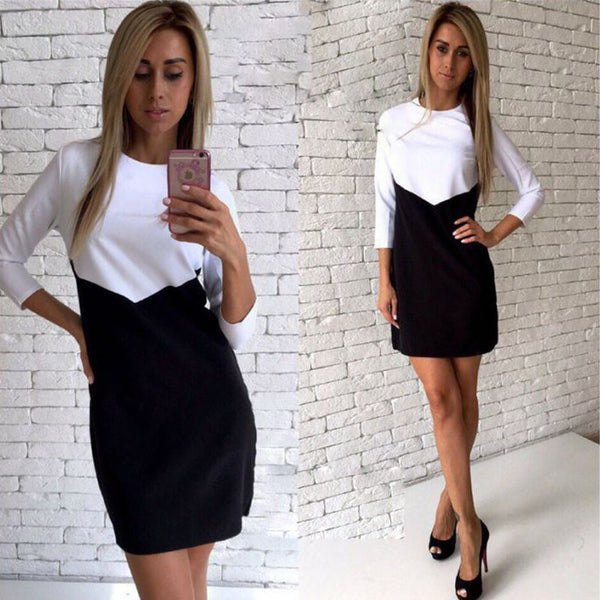 Online discount shop Australia - Elegant White Black Patchwork Office Dress Women Autumn Fashion Casual There Quarter Sleeve OL Tunic Dresses Ladies robe femme