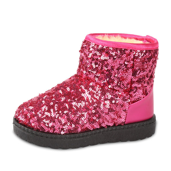 8574a130792f8 Kids Boots Snow Boots Girls Children s Models Warm Shoes Fashion Sequins  Medium-sized Child Boot