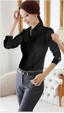 OL White Shirt Women Cardigan Office Ladies' Long Sleeve Tops Black Slim Blouses & Shirts Women Work Shirt XS-2XL #C3