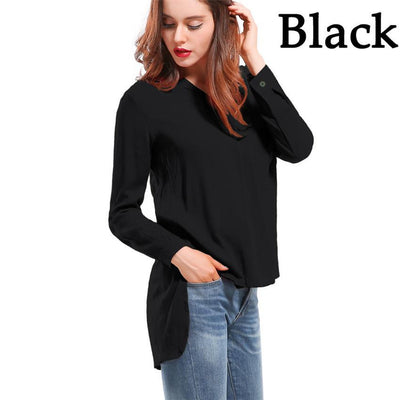 Women Blouses Long sleeve Shirts Solid V-neck Cotton Vintage Shirt Wild Casual Streetwear Loose Tops Women Plus Size Blouse
