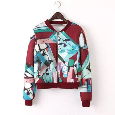 Online discount shop Australia - Bella Philosophy Graffiti full print women bomber jacket coat real photo long