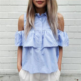 Sexy Off Shoulder Ruffles Women Blouse Short Shirts Turn-down Collar Crop Ladies Tops Blue and White