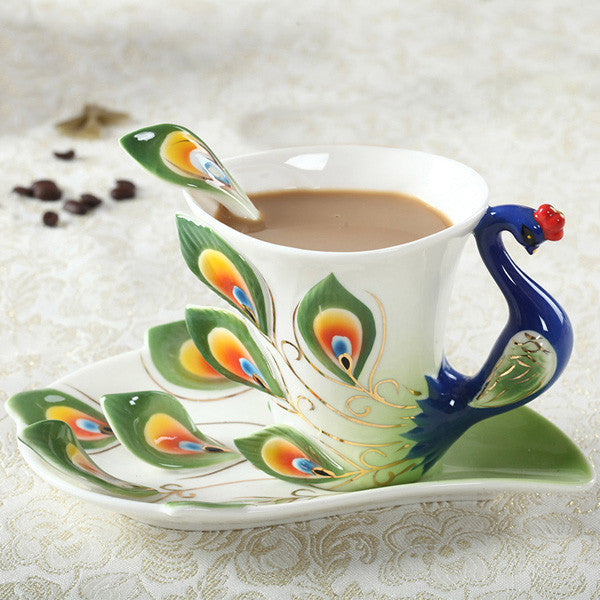 Peacock Coffee Cup Ceramic Creative Mug Bone 3D Color Enamel Porcelain Saucer Spoon Coffee Tea Sets for friend GiftGreena