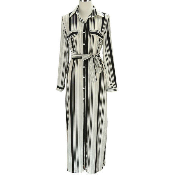 Online discount shop Australia - Black And White Striped Maxi Shirt Dress Long Elegant Maxi Party Dresses High Split Sexy Maxi Tie Waist Tunic Dress