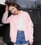 Pink Blue Bomber Jacket Women Loose Coat Stand Collar Pure Baseball Cardigan