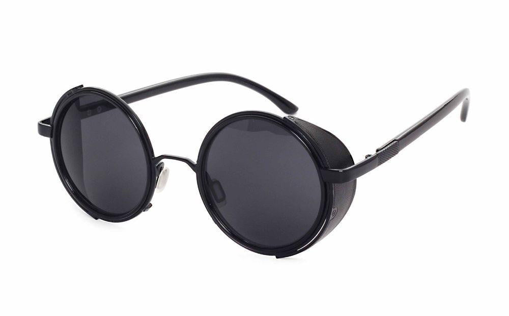 Steampunk Sunglasses Women Round Glasses Goggles Men Side Visor Circle Lens Unisex Vintage Retro Style Punka