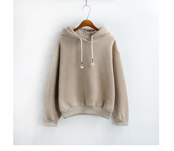 Women Hoodies Sweatshirts Long Sleeved Thick Casual All-match Solid Leisure Hooded Hoodie Loose Tops