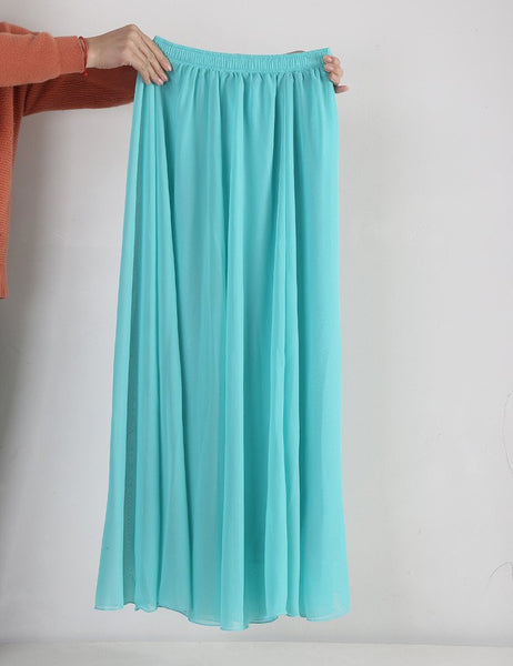 d47dd6665366 Women Chiffon Long Skirts Candy Color Pleated Maxi Skirts Spring Summer  Skirts