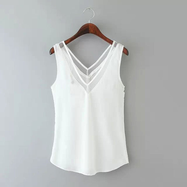 Online discount shop Australia - Chiffon Vest New Fashion Women Blouses Sleeveless Tops Female Casual Clothing Ladies V Collar Shirts Tanks Body Lace