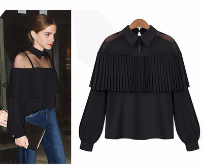 White Blouse Shirt Women Chiffon Blouse Pleated Tops Long Sleeve Blouse Sheer Gauze