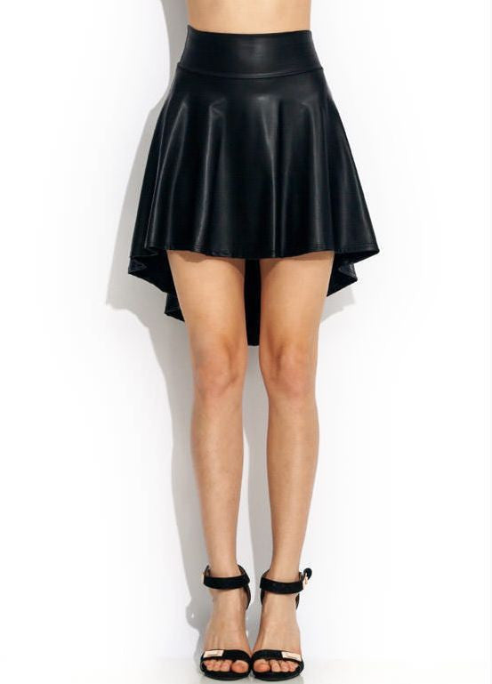 dfa24f592eed Faux Leather Black Sexy skirts Trendy Dance Party Casual High-Low Skater  Skirt S/