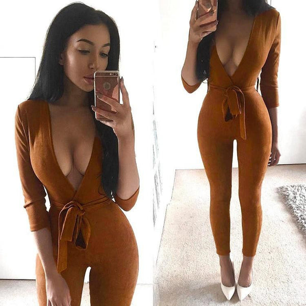 Women Jumpsuits New 4 Color Deep V Neck Suede Belt Sexy Club Bandage Rompers Womens Jumpsuit Overalls