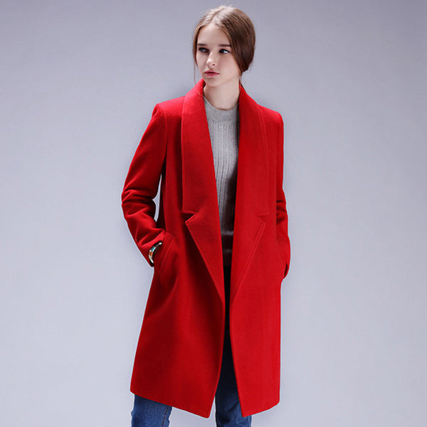 Coat Women Warm Cotton Wool Coat Long Women's Cashmere Coat Fashion Jacket Outwear